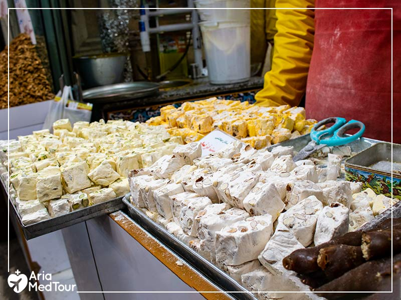 Different flavors of Gaz, famous Iranian pastry