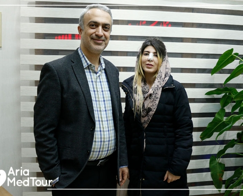 patient from Germany in Iran with her rhinoplasty surgeon