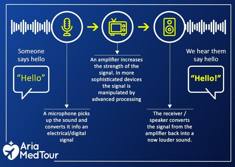 an infograghy describing how hearing aids work
