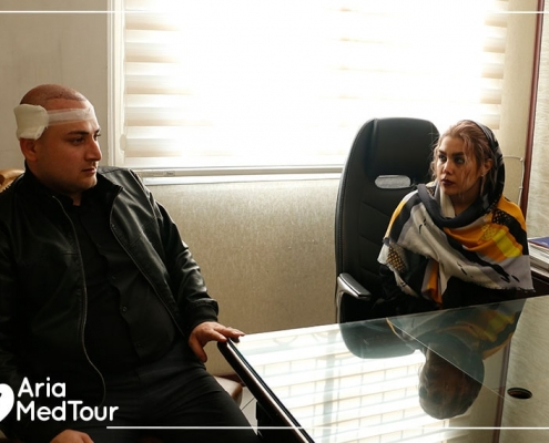 Azerbaijani patient in the hair transplant clinic in Tehran