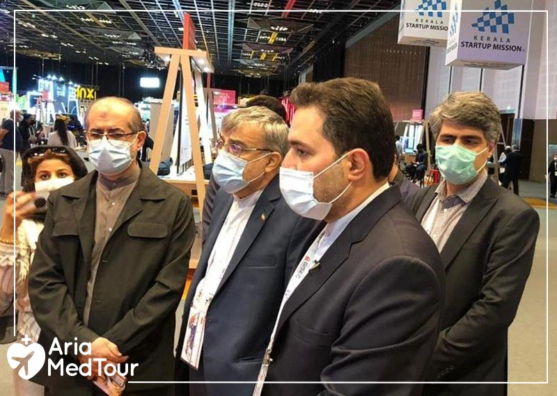 Dr. Seyed Mohammad Hosseini, Ambassador of Iran to the UAE, and Dr. Ali Vahdat, Head of the Presidential Innovation Fund, visit AriaMedTour's booth at GITEX 2020 Dubai Exhibition