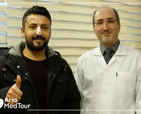 syrian kurdish patient with his rhinoplasty surgeon in Iran