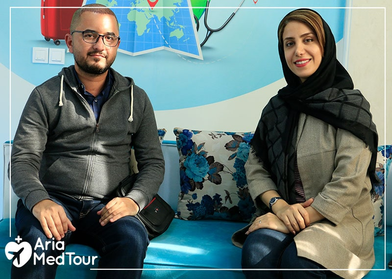 Iraqi patient with interpreter during hair transplant experience in Iran