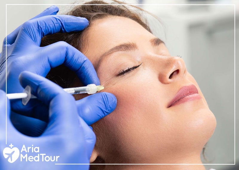 a cosmetic surgeon injecting Botox and fillers to a woman's face