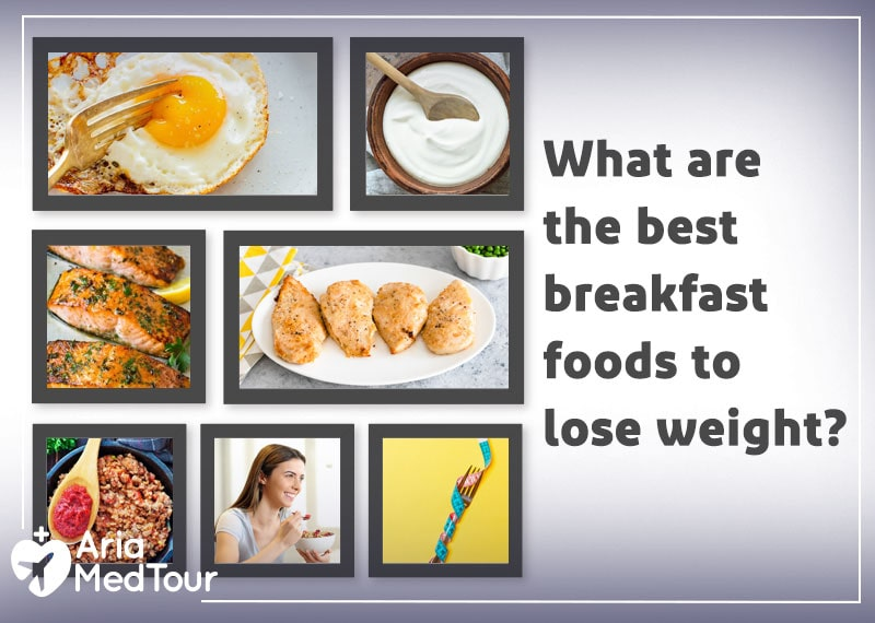 an infographic showing the best weight loss breakfast foods including eggs, yogurt, salmon, chicken breast, and ground turkey meat