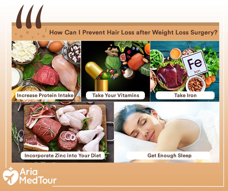 an infography showing the prevention tips for hair loss after weight loss surgery