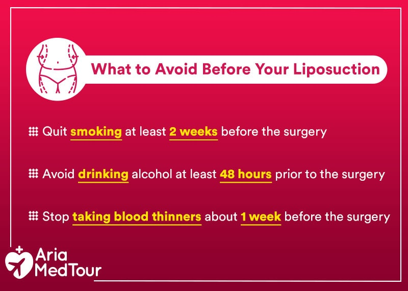 an infographic showing activities not to do before liposuction