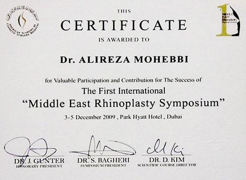 doctor Alireza Mohebbi certificate