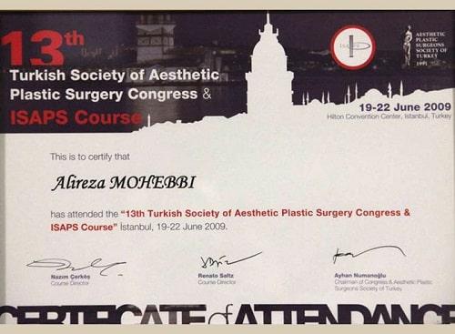 Alireza Mohebbi's certificate