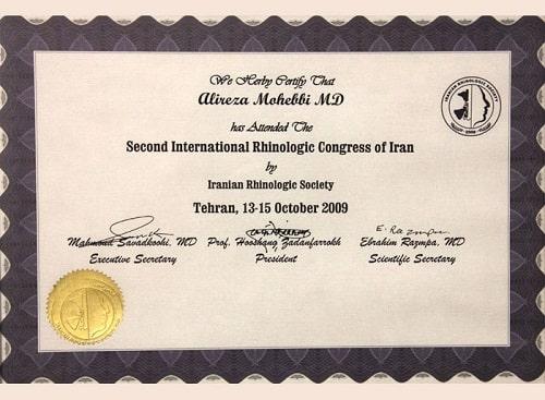 certificate of doctor Alireza Mohebbi