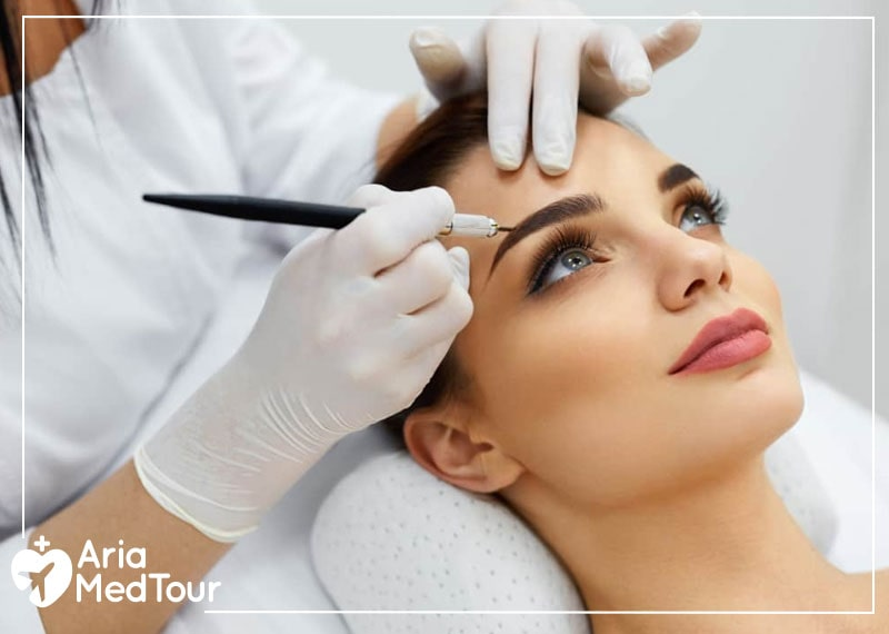 a woman performing eyebrow transplant